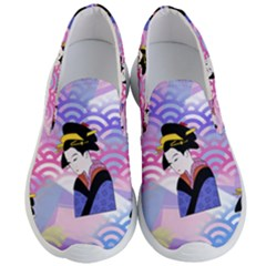 Japanese Abstract Blue Men s Lightweight Slip Ons