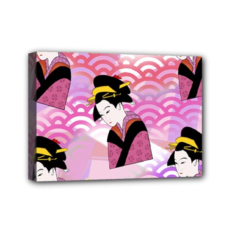 Japanese Abstract Pink Mini Canvas 7  X 5  by snowwhitegirl