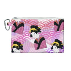 Japanese Abstract Pink Canvas Cosmetic Bag (large) by snowwhitegirl