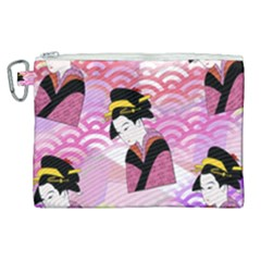 Japanese Abstract Pink Canvas Cosmetic Bag (xl) by snowwhitegirl