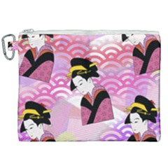 Japanese Abstract Pink Canvas Cosmetic Bag (xxl) by snowwhitegirl
