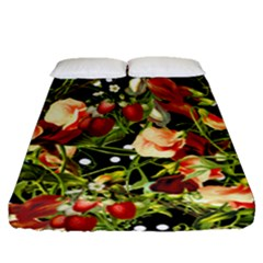 Fruit Blossom Black Fitted Sheet (queen Size)