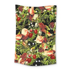 Fruit Blossom Black Small Tapestry by snowwhitegirl