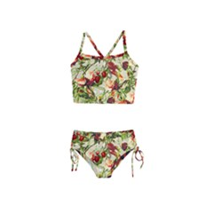 Fruit Blossom Beige Girls  Tankini Swimsuit by snowwhitegirl