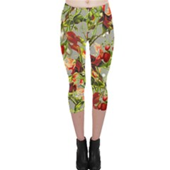 Fruit Blossom Gray Capri Leggings  by snowwhitegirl