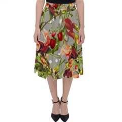 Fruit Blossom Gray Folding Skater Skirt by snowwhitegirl