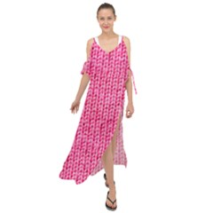 Knitted Wool Bright Pink Maxi Chiffon Cover Up Dress by snowwhitegirl