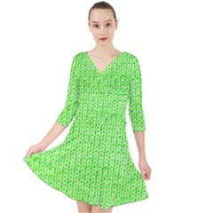 Knitted Wool Neon Green Quarter Sleeve Front Wrap Dress