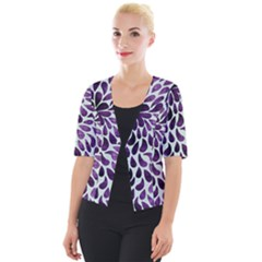 Purple Abstract Swirl Drops Cropped Button Cardigan by snowwhitegirl