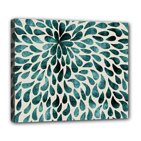 Teal Abstract Swirl Drops Deluxe Canvas 24  X 20   by snowwhitegirl