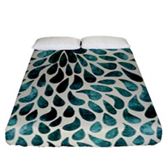 Teal Abstract Swirl Drops Fitted Sheet (queen Size) by snowwhitegirl