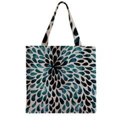 Teal Abstract Swirl Drops Zipper Grocery Tote Bag by snowwhitegirl