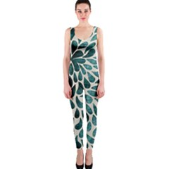 Teal Abstract Swirl Drops One Piece Catsuit by snowwhitegirl