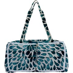 Teal Abstract Swirl Drops Multi Function Bag