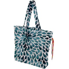 Teal Abstract Swirl Drops Drawstring Tote Bag by snowwhitegirl