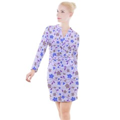 Blue Vintage Flowers Button Long Sleeve Dress