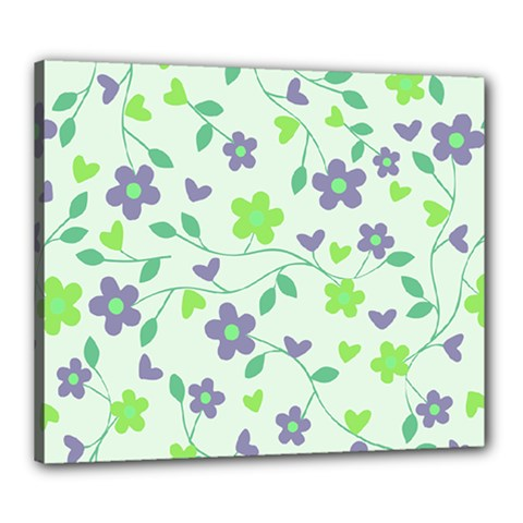 Green Vintage Flowers Canvas 24  X 20  by snowwhitegirl