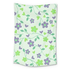 Green Vintage Flowers Large Tapestry