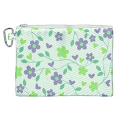 Green Vintage Flowers Canvas Cosmetic Bag (xl) by snowwhitegirl