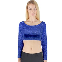 Blue Glitter Long Sleeve Crop Top by snowwhitegirl