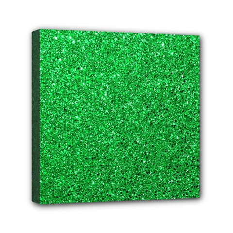 Green Glitter Mini Canvas 6  X 6  by snowwhitegirl