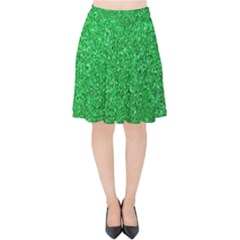 Green Glitter Velvet High Waist Skirt by snowwhitegirl