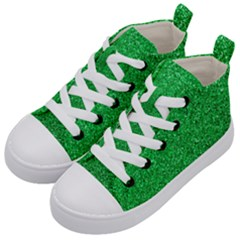 Green Glitter Kid s Mid Top Canvas Sneakers by snowwhitegirl