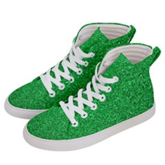Green Glitter Men s Hi Top Skate Sneakers by snowwhitegirl