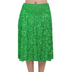 Green Glitter Velvet Flared Midi Skirt