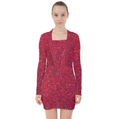 Red  Glitter V Neck Bodycon Long Sleeve Dress