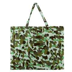 Brownish Green Camo Zipper Large Tote Bag by snowwhitegirl