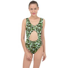 Brownish Green Camo Center Cut Out Swimsuit