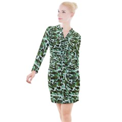 Green Camo Button Long Sleeve Dress