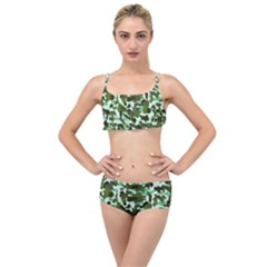 Green Camo Layered Top Bikini Set