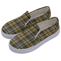 Yellow Plaid Kids  Canvas Slip Ons by snowwhitegirl