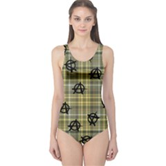 Yellow Plaid Anarchy One Piece Swimsuit