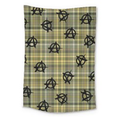 Yellow Plaid Anarchy Large Tapestry by snowwhitegirl