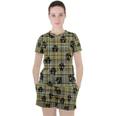 Yellow Plaid Anarchy Women s Tee And Shorts Set by snowwhitegirl