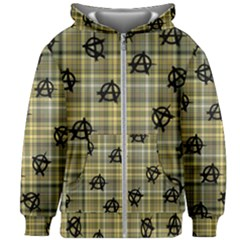 Yellow Plaid Anarchy Kids Zipper Hoodie Without Drawstring
