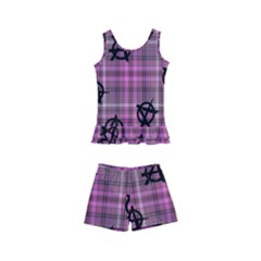 Pink  Plaid Anarchy Kid s Boyleg Swimsuit