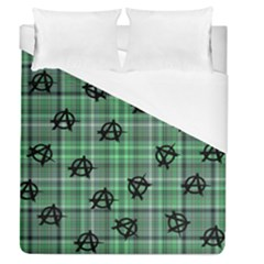 Green  Plaid Anarchy Duvet Cover (queen Size) by snowwhitegirl