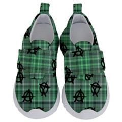 Green  Plaid Anarchy Velcro Strap Shoes by snowwhitegirl