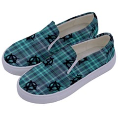 Aqua  Plaid Anarchy Kids  Canvas Slip Ons by snowwhitegirl