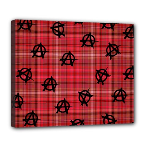 Red Plaid Anarchy Deluxe Canvas 24  X 20   by snowwhitegirl