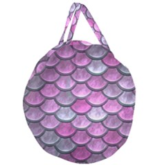 Pink Mermaid Scale Giant Round Zipper Tote by snowwhitegirl
