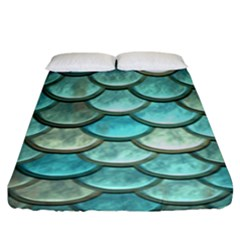 Aqua Mermaid Scale Fitted Sheet (king Size) by snowwhitegirl