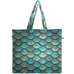 Aqua Mermaid Scale Canvas Travel Bag