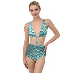 Aqua Mermaid Scale Tied Up Two Piece Swimsuit