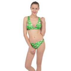 Green Mermaid Scale Classic Banded Bikini Set