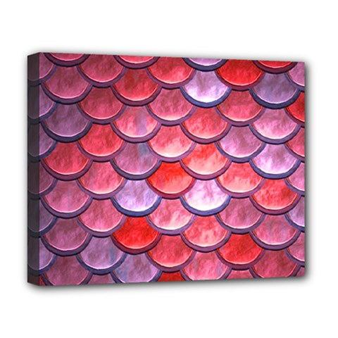 Red Mermaid Scale Deluxe Canvas 20  X 16